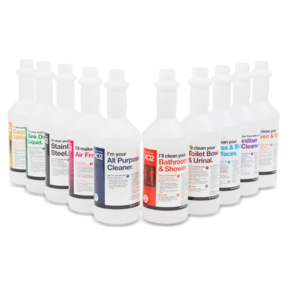 750ml XO2® Toilet Bowl & Urinal Cleaner Labelled Empty Bottle - Group Shot