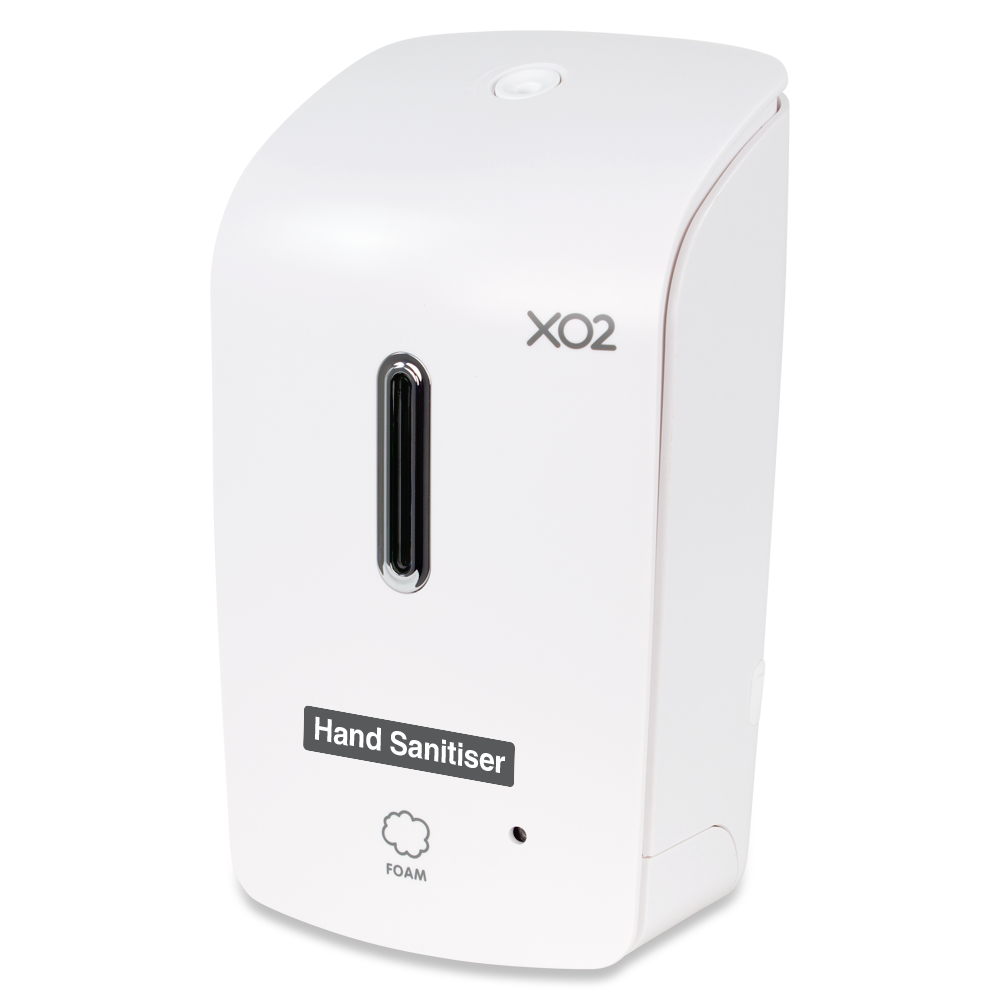 XO2® 'The Bodyguard' Touch Free Hand Sanitiser Dispenser - High Capacity, Low Servicing & Less Waste