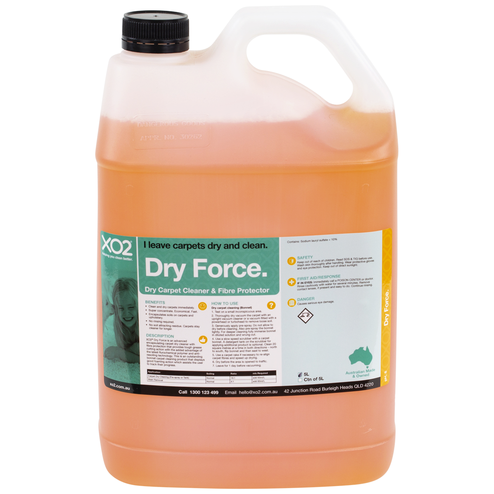 XO2® Dry Force - Dry Carpet Cleaning Encapsulation Detergent & Fabric Protector