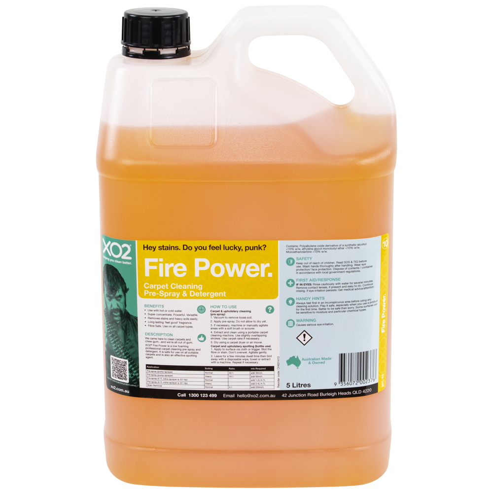XO2® Fire Power - Carpet Cleaning Pre-Spray & Detergent Concentrate