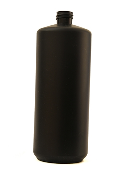 1L Black Plastic Bottle - Straight Sided, No Neck, Empty, 28mm Screw Thread