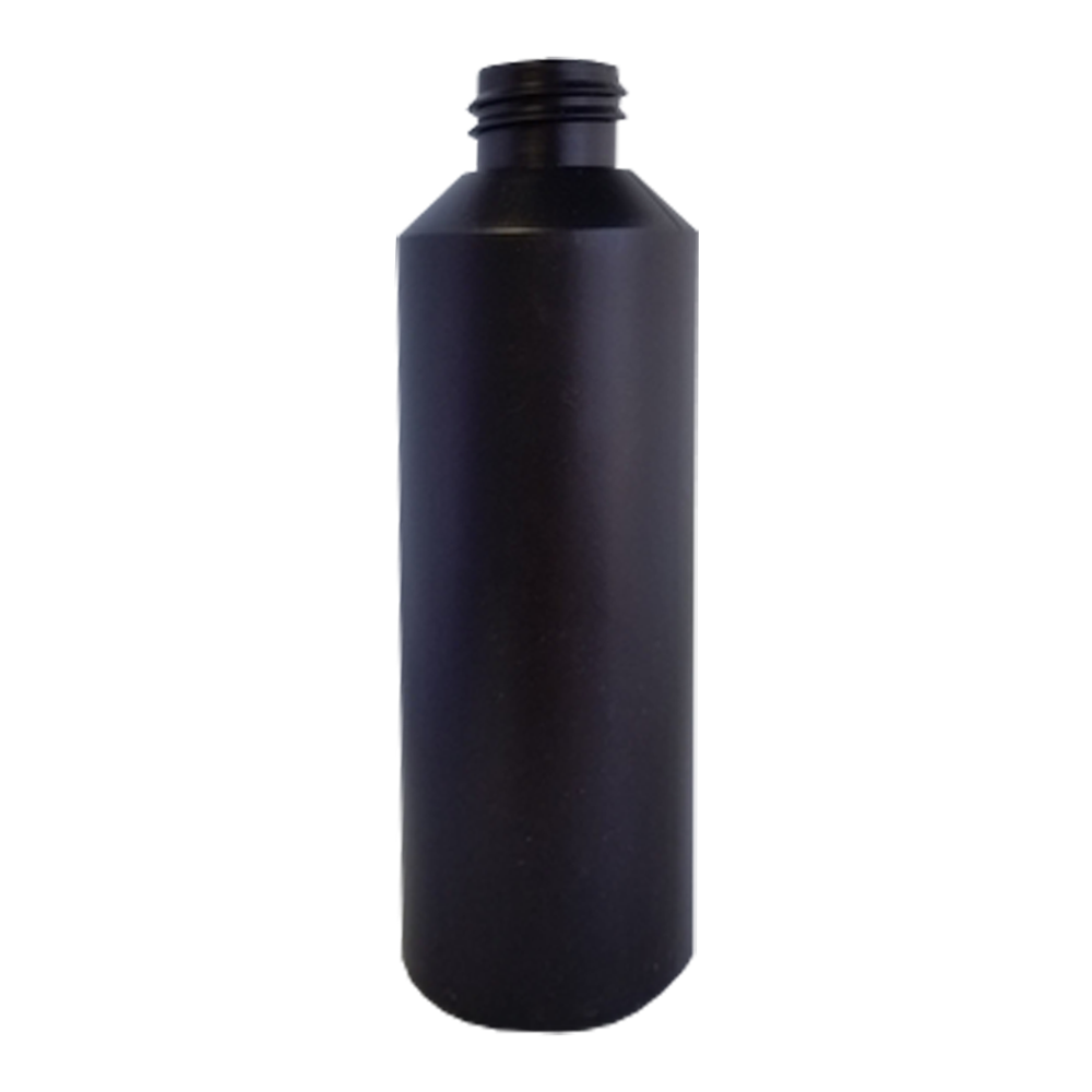 250ml Straight Sided Bottle - No Neck, Empty, Black, 28mm Screw Thread